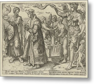 Impact Of Wealth, Philips Galle, Hadrianus Junius Metal Print