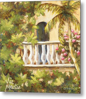 In The Oasis With Gold Leaf By Vic Mastis Metal Print by Vic  Mastis
