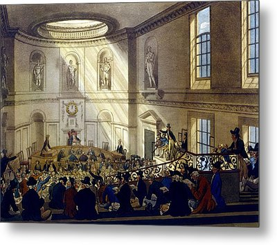 India House, The Sale Room Metal Print by T. & Pugin, A.C. Rowlandson