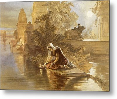 Indian Woman Floating Lamps Metal Print by William 'Crimea' Simpson