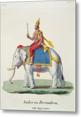 Indra Or Devendra, From Linde Metal Print by French School