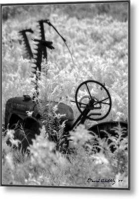 Infrared Bw Old Farm Tractor 8  Metal Print by David Blatchley