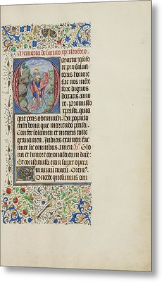 Initial O Saint Christopher Carrying The Christ Child Metal Print