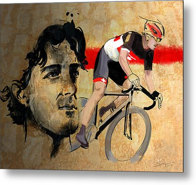 Ink Portrait Illustration Print Of Cycling Athlete Fabian Cancellara Metal Print