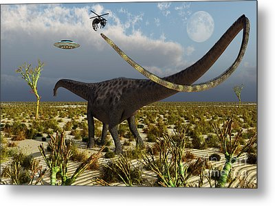 Insectoid Drones Attack A Diplodocus Metal Print by Mark Stevenson