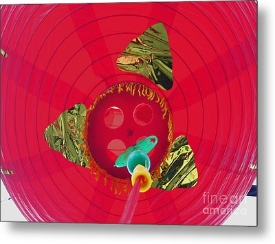 Inside A Red Chinese Lantern Metal Print by Kym Backland