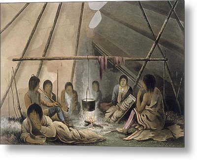 Interior Of A Cree Indian Tent, 1824 Metal Print by Lieutenant Hood