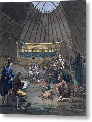 Interior Of A Kalmuk Yurt, 1812-13 Metal Print by E. Karnejeff
