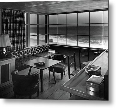 Interior Of Beach House Owned By Anatole Litvak Metal Print by Fred R. Dapprich