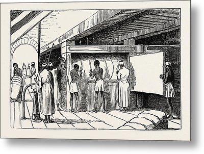 Interior Of Shuna The Hydraulic Press, Banding The Bales Metal Print by Egyptian School