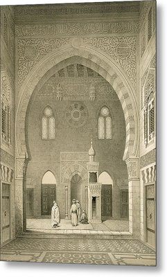 Interior Of The Mosque Of Qaitbay, Cairo Metal Print by French School