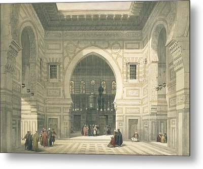 Interior Of The Mosque Of Sultan Hasan Metal Print by David Roberts