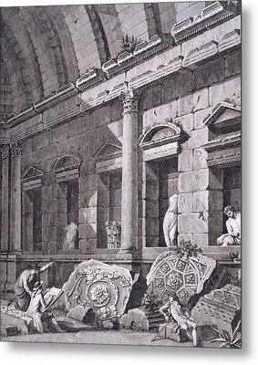 Interior Of The Temple Of Diana, Nimes Metal Print by French School