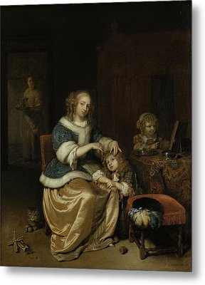 Interior With A Mother Combing Her Child's Hair Metal Print by Litz Collection