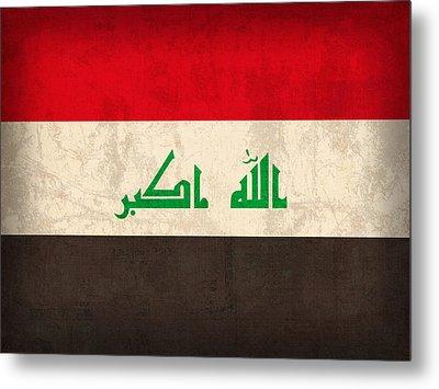 Iraq Flag Vintage Distressed Finish Metal Print by Design Turnpike