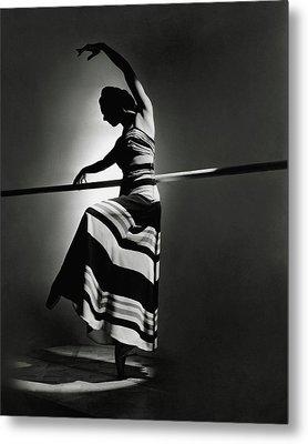 Irina Baronova Wearing A Stripes Metal Print by Horst P. Horst