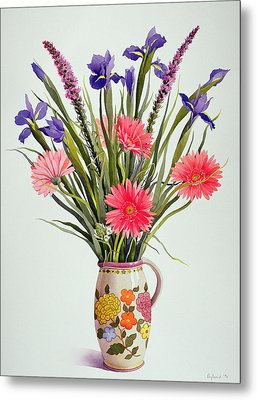 Irises And Berbera In A Dutch Jug Metal Print by Christopher Ryland