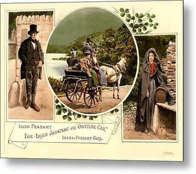 Irish Peasants And A Jaunting Car Metal Print by Vintage Image
