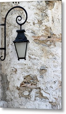 Iron Lantern On A Old Brick Wall Metal Print by Kamen Zagorov