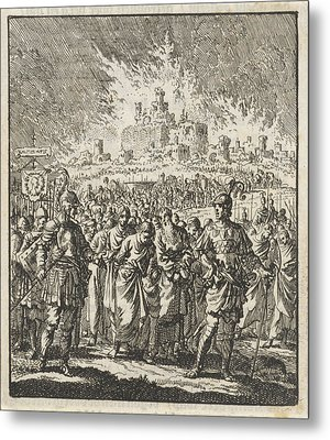 Israelites Leave Jerusalem, Which Is Burning Metal Print