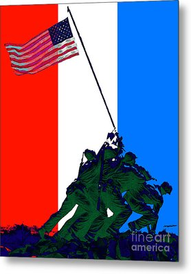 Iwo Jima 20130210 Red White Blue Metal Print by Wingsdomain Art and Photography