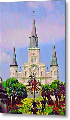 Jackson Square In The French Quarter Metal Print by Bill Cannon
