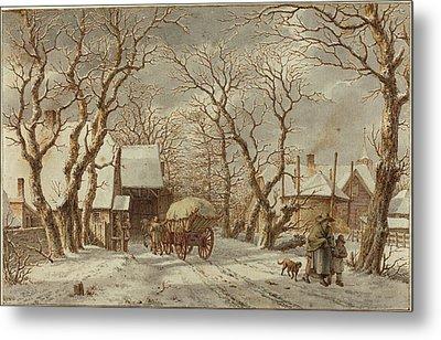 Jacob Cats Dutch, 1741 - 1799, Winter Scene Metal Print by Quint Lox