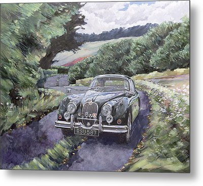 Jaguar Xk150 Cruising Metal Print