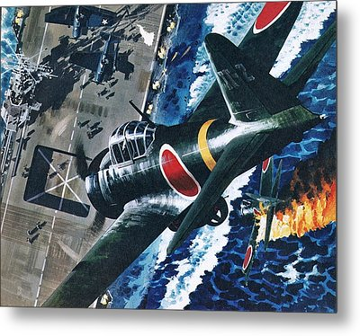 Japanese Suicide Attack On American Metal Print