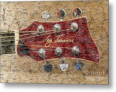 Jay Turser Guitar Head - Red Guitar - Digital Painting Metal Print by Barbara Griffin