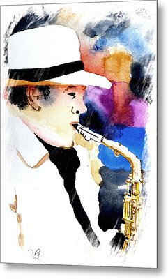 Metal Print featuring the painting Jazz Player by Steven Ponsford