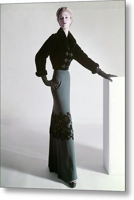 Jean Patchett Wears A Mainbocher Jacket Metal Print by Horst P. Horst