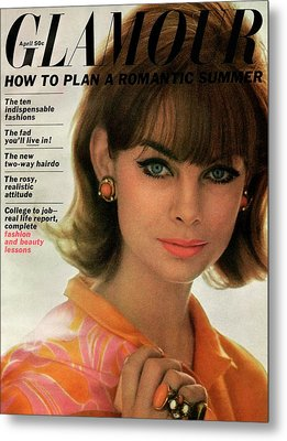 Jean Shrimpton On The Cover Of Glamour Metal Print by David Bailey