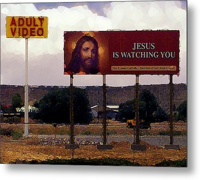 Jesus Is Watching You Metal Print by Ron Regalado