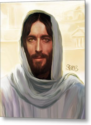 Jesus Smiling Metal Print by Mark Spears