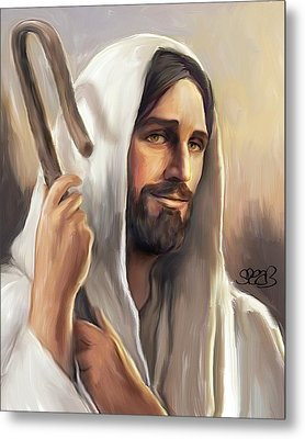 Jesus The Shepherd Metal Print