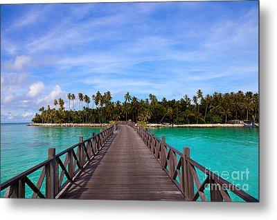 Jetty On Tropical Island Metal Print by Fototrav Print