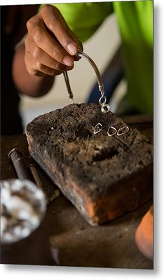 Metal Print featuring the photograph Jewelry Making - Bali by Matthew Onheiber