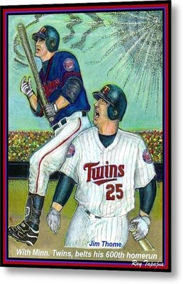 Jim Thome Hits 600th With Twins Metal Print by Ray Tapajna