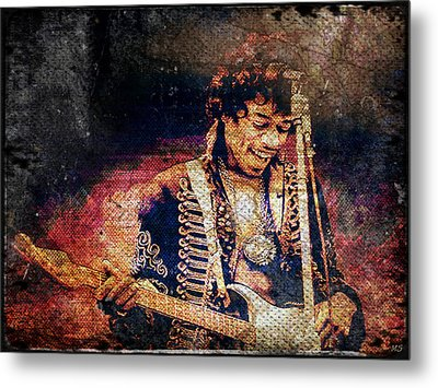 Jimi Hendrix - Guitar Metal Print