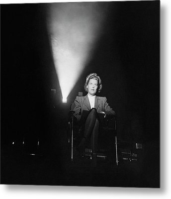 Joan Harrison In A Dark Cinema Metal Print