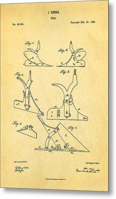 John Deere Plow Patent Art 1865 Metal Print by Ian Monk