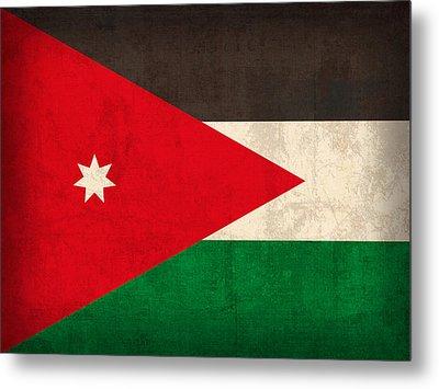 Jordan Flag Vintage Distressed Finish Metal Print by Design Turnpike