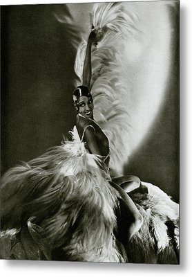 Josephine Baker Wearing A Feathered Cape Metal Print by George Hoyningen-Huene