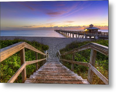Juno Beach   Metal Print by Debra and Dave Vanderlaan