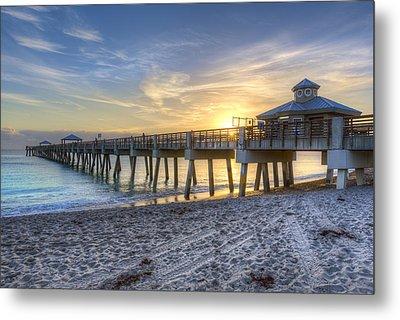 Juno Beach Pier At Dawn Metal Print by Debra and Dave Vanderlaan