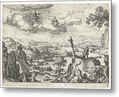 Jupiter In His Car And Another God, Anoniem Hans Bol Metal Print by Hans Bol