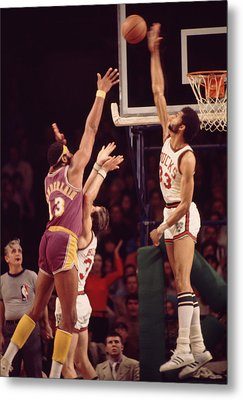 Kareem Abdul Jabbar Blocks Wilt Chamberlain Metal Print by Retro Images Archive