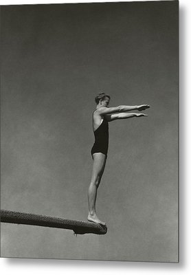 Katherine Rawls Getting Ready To Dive Metal Print by Edward Steichen