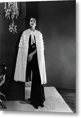 Kay Francis Wearing An Ermine Cape Metal Print by Horst P. Horst